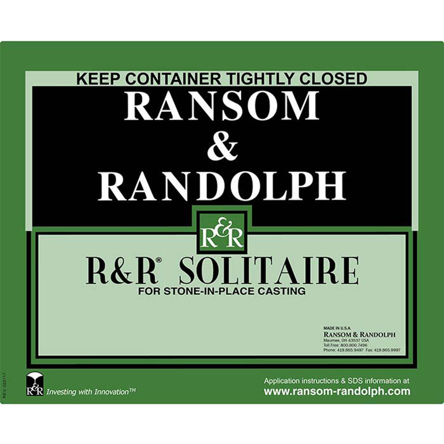 Ransom Randolph Solitaire Stone In Place Investment 50 Lb Box