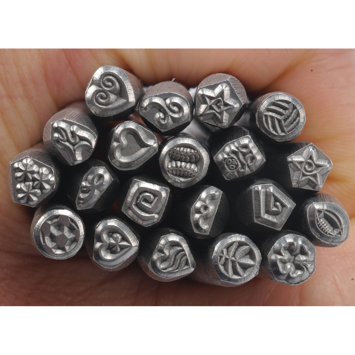 Fityle Metal Stamp Punch Set Hardened Carbon Steel Metal Stamp Design Symbol for Stamping Metal//Jewelry//Leather//Wood Platinum DIY Jewelry Making 20pcs